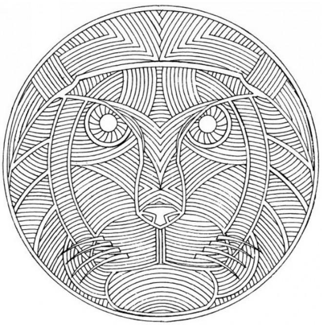 Coloriage et dessins gratuits Lion mandala pour adulte à imprimer