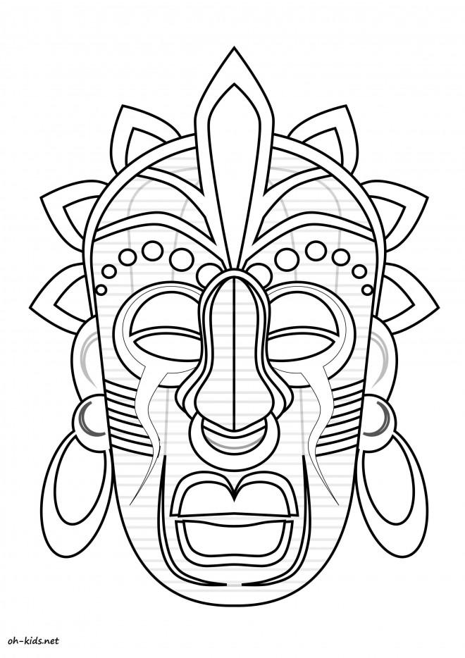 Coloriage Masque Africain Couleur Dessin Gratuit A Imprimer
