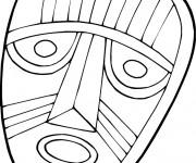 Coloriage et dessins gratuit Masque Africain en noir et blanc à imprimer