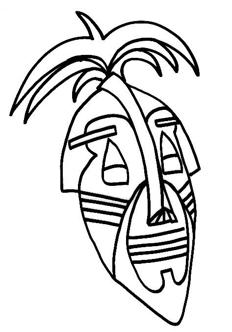 Coloriage et dessins gratuits Masque Africain maternelle à imprimer