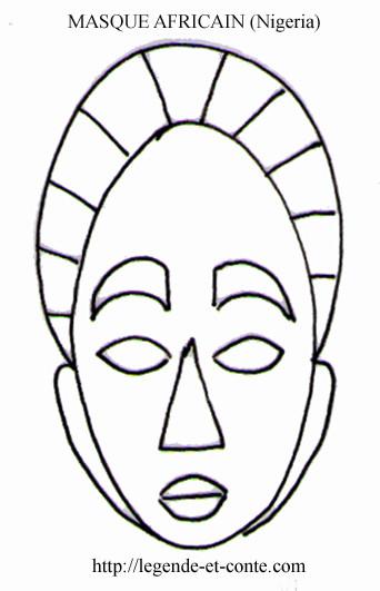 Coloriage masque africain nigeria dessin gratuit imprimer - Masque africain a imprimer ...