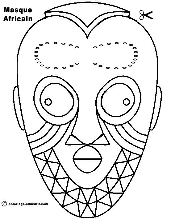 Coloriage et dessins gratuits Masque Africain pour découpage à imprimer