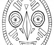 Coloriage Masque Africain pour découpage