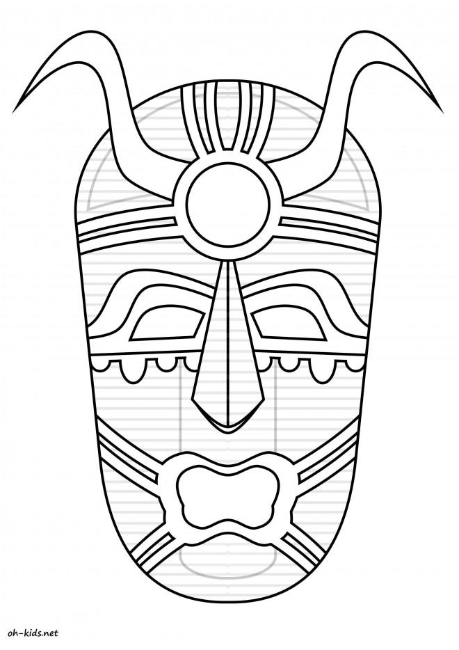 Coloriage Masque Africain Vecteur Dessin Gratuit A Imprimer