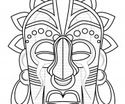 Coloriage dessin  Masque Afrique 3