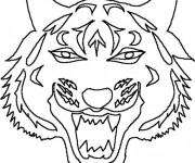 Coloriage Masque de Tigre
