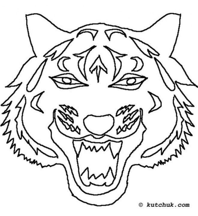 Coloriage Masque De Tigre Dessin Gratuit à Imprimer