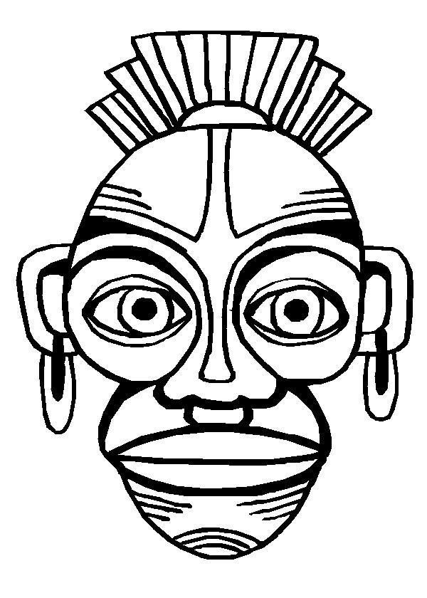 Coloriage et dessins gratuits Un masque Africain à imprimer