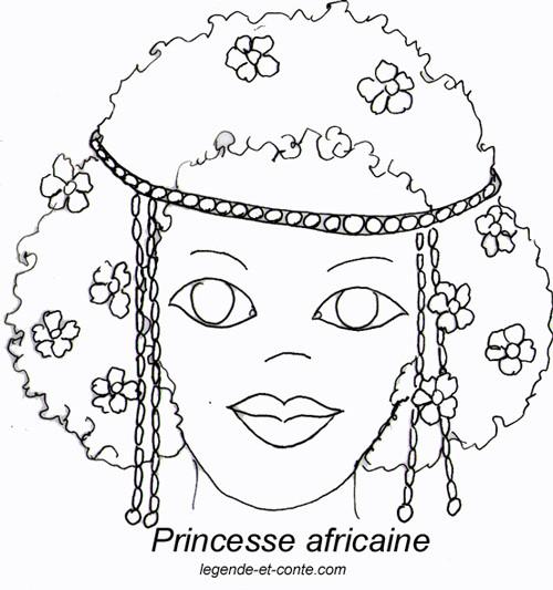 Coloriage et dessins gratuits Une Princesse africaine à imprimer