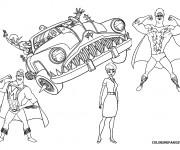 Coloriage Megamind et Nounou dans la voiture invisible