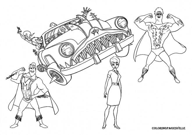 Coloriage et dessins gratuits Megamind et Nounou dans la voiture invisible à imprimer