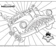 Coloriage Megamind sur sa voiture magique