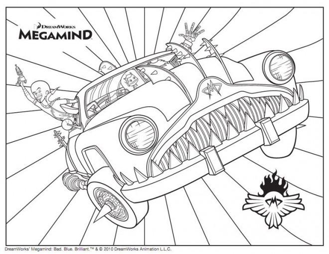 Coloriage et dessins gratuits Megamind sur sa voiture magique à imprimer