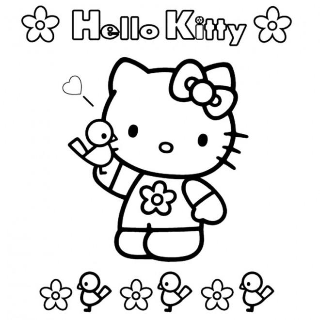 Coloriage et dessins gratuits Facile Hello Kitty à imprimer