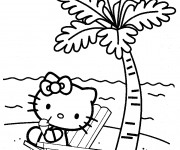Coloriage Hello Kitty à la plage