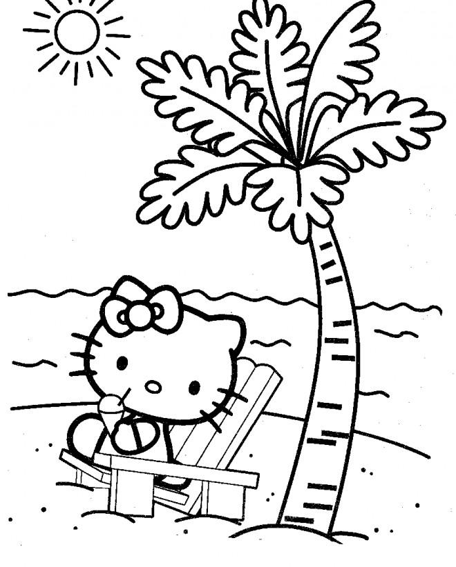 Coloriage et dessins gratuits Hello Kitty à la plage à imprimer