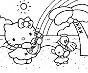 Coloriage et dessins gratuit Hello Kitty à la plage de hawaii à imprimer