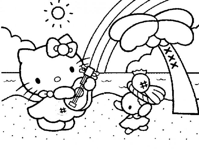 Coloriage et dessins gratuits Hello Kitty à la plage de hawaii à imprimer