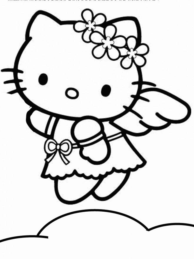 Coloriage et dessins gratuits Hello Kitty Ange à imprimer