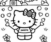 Coloriage Hello Kitty dans le jardin