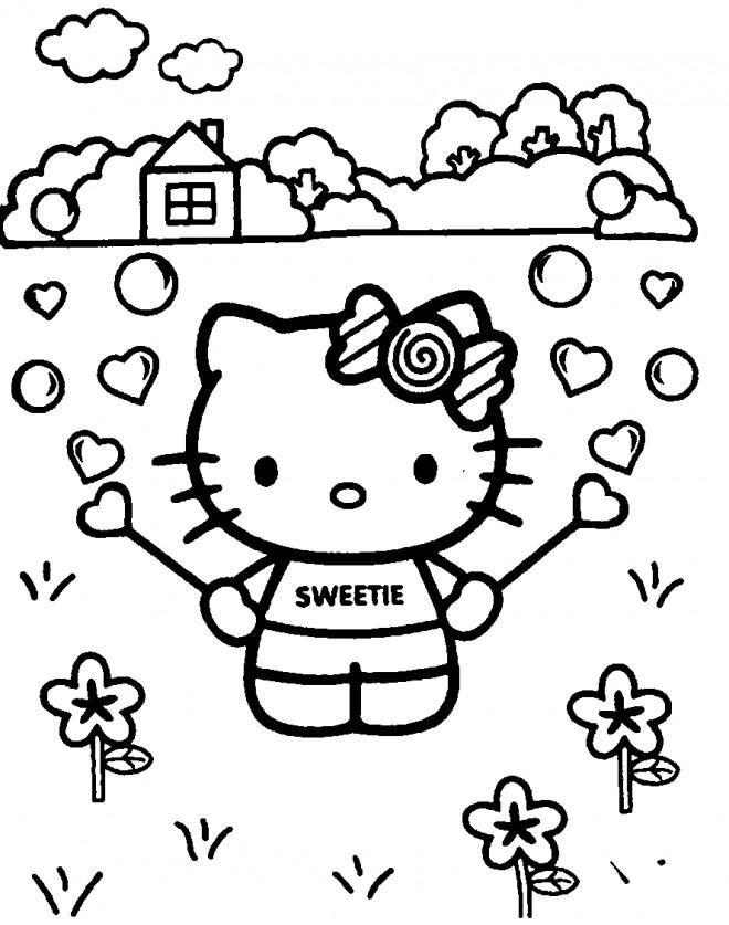 Coloriage et dessins gratuits Hello Kitty dans le jardin à imprimer