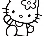 Coloriage et dessins gratuit Hello Kitty en train te salue à imprimer