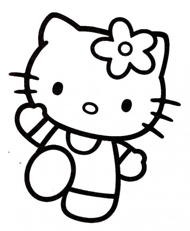 Coloriage et dessins gratuits Hello Kitty en train te salue à imprimer