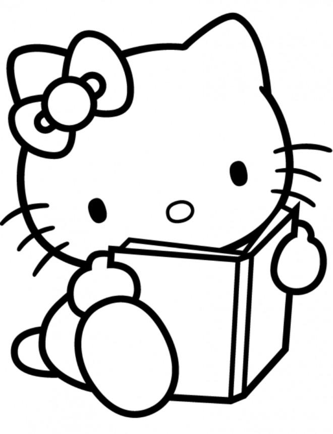 Coloriage et dessins gratuits Hello Kitty entrain de lire à imprimer