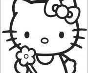 Coloriage Hello Kitty et Fleur