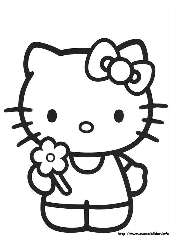 Coloriage et dessins gratuits Hello Kitty et Fleur à imprimer