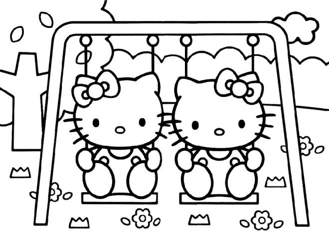 Coloriage et dessins gratuits Hello Kitty et son amie à imprimer