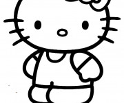 Coloriage et dessins gratuit Hello Kitty facile à imprimer