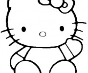Coloriage Hello Kitty facile à colorier