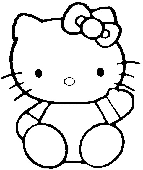 Coloriage et dessins gratuits Hello Kitty facile à colorier à imprimer