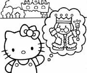 Coloriage Hello Kitty fait un rêve