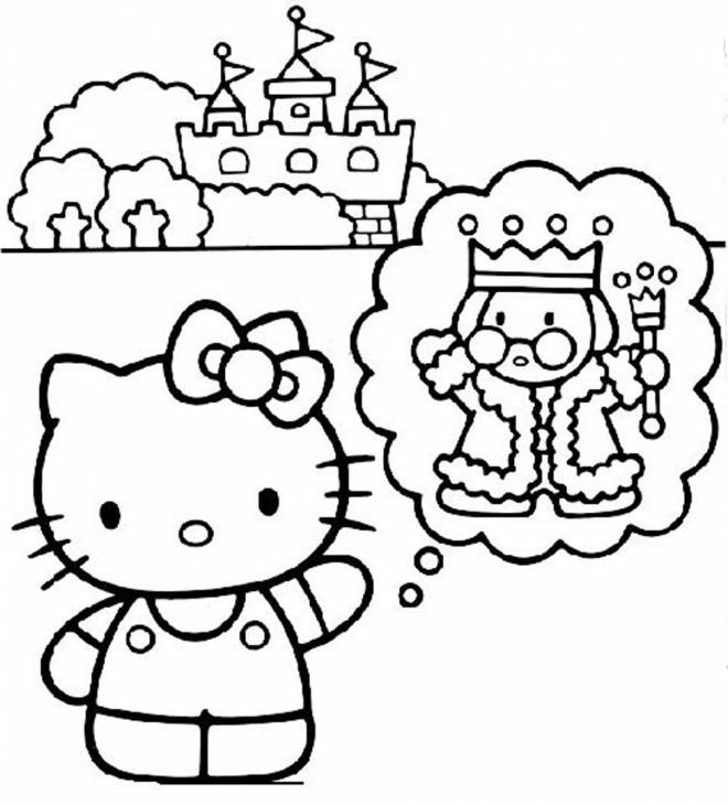 Coloriage et dessins gratuits Hello Kitty fait un rêve à imprimer
