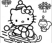 Coloriage et dessins gratuit Hello Kitty joue sur La Neige à imprimer