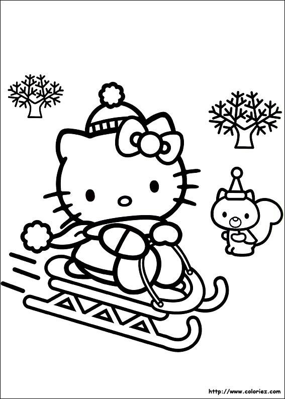 Coloriage et dessins gratuits Hello Kitty joue sur La Neige à imprimer