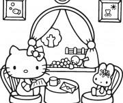 Coloriage et dessins gratuit Hello Kitty lit une lettre à imprimer