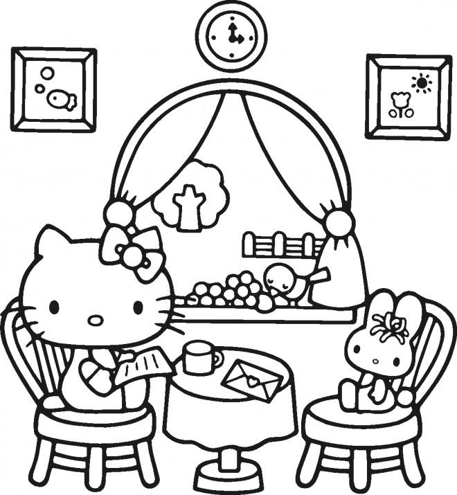 Coloriage et dessins gratuits Hello Kitty lit une lettre à imprimer