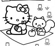 Coloriage Hello Kitty Minou Pique-nique