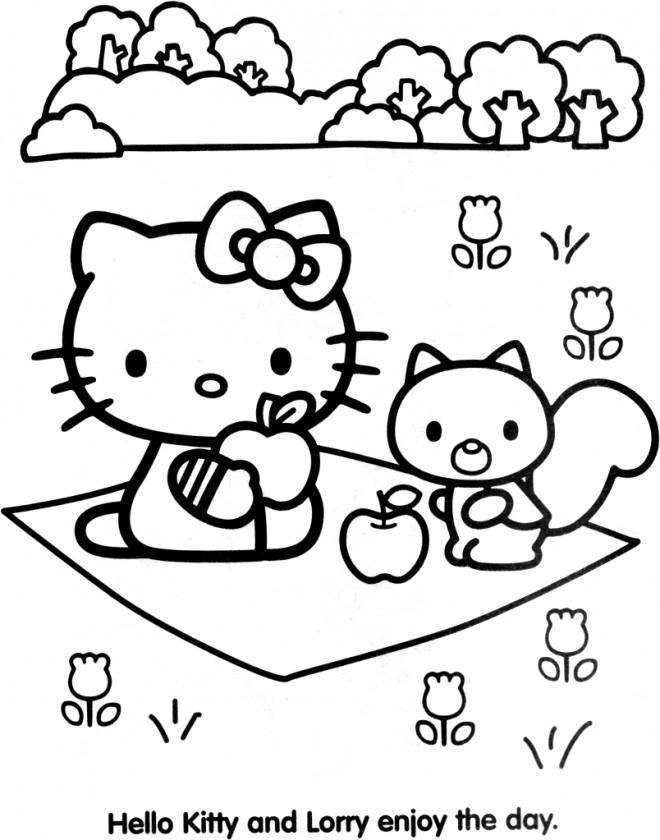 Coloriage et dessins gratuits Hello Kitty Minou Pique-nique à imprimer