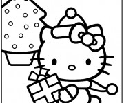 Coloriage Hello Kitty Noel à colorier