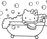 Coloriage Hello Kitty se baigne