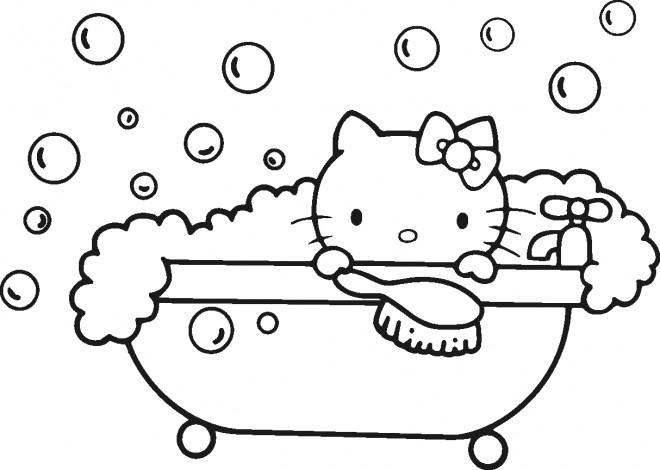 Coloriage et dessins gratuits Hello Kitty se baigne à imprimer