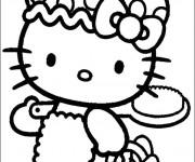 Coloriage et dessins gratuit Hello Kitty se dirige vers La Plage à imprimer