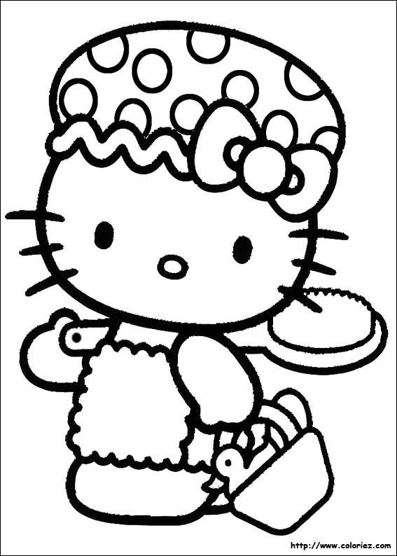 Coloriage et dessins gratuits Hello Kitty se dirige vers La Plage à imprimer