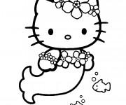Coloriage et dessins gratuit Hello Kitty sirène en ligne à imprimer
