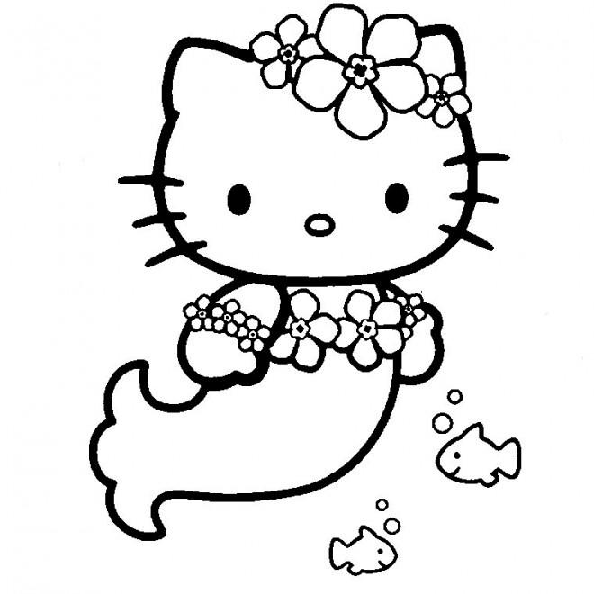 Coloriage et dessins gratuits Hello Kitty sirène en ligne à imprimer