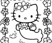 Coloriage Hello Kitty Sirène sous l'eau